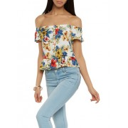 Printed Off the Shoulder Top - Top - $10.97