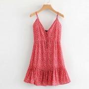 Printed Velcro V-Neck Sexy Sling Dress - ワンピース・ドレス - $27.99  ~ ¥3,150