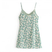 Printed small chrysanthemum V-neck sling - Dresses - $25.99