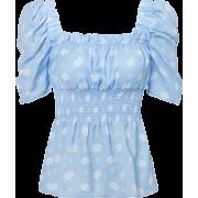 Printed waist shirt retro square neck pu - 半袖シャツ・ブラウス - $26.99  ~ ¥3,038