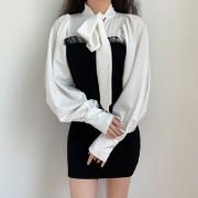 Puff sleeve design strappy contrast ragl - Obleke - $27.99  ~ 24.04€