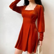 Pumpkin-colored velvet lace square colla - Платья - $35.99  ~ 30.91€
