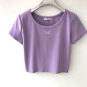 Purple 100% cotton soft butterfly embroidered short top T-shirt - 半袖衫/女式衬衫 - $21.99  ~ ¥147.34