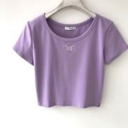Purple 100% cotton soft butterfly embroidered short top T-shirt - Košulje - kratke - $21.99  ~ 139,69kn