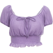Purple Knitted High Waist Lace Top Women's Navel Summer Lantern Sleeve T-Shirt - Shirts - $25.99