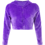Purple hooded long-sleeved fur dark buck - Jacket - coats - $28.99