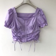 Purple solid color cotton double drawstring bubble sleeve sweet short sleeve sho - Koszule - krótkie - $25.99  ~ 22.32€
