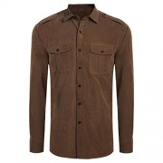 Qearal Mens Turn Down Collar Long Sleeve Faux Suede Solid Button Down Shirts W/Pocket - Long sleeves shirts - $19.99