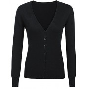 Qearal Women Cashmere V-Neck Button Down Long Sleeve Knit Cardigan Sweater - Shirts - $9.99