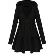 Qearal Women Loose Casual Hooded Zip Hoodie Sweatshirt Ruffle Swing Coat Jacket Outwear - Jacket - coats - $15.99
