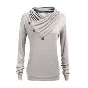 Qearal Women's Cowl Neck Long Sleeve Button Detail Knitted Draped Blouse Top - Long sleeves shirts - $7.99