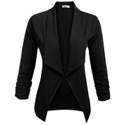 Qearal Womens Solid 3/4 Ruched Sleeve Open Front Draped Lapel Work Office Blazer Jacket - Shirts - $12.99
