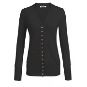 Qearal Womens V Neck Button Down Long Sleeve Soft Knit Snap Cardigans (S-2X) - Shirts - $9.99