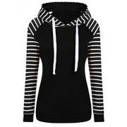 Qearal Women's Winter Raglan Sleeve Striped Fleece Pullover Hoodie Sweatshirt With Kangroo Pocket - Long sleeves shirts - $18.98