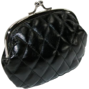 Quilted Lux Framed Coin Purse Black - Clutch bags - $3.77