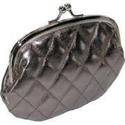 Quilted Lux Framed Coin Purse Pewter - Clutch bags - $3.77