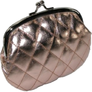 Quilted Lux Framed Coin Purse Rose Gold - Clutch bags - $3.77