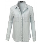 RK RUBY KARAT Premium Design Womens Chambray Button Front Stripe Shirt - Shirts - $77.49