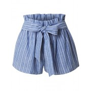 RK RUBY KARAT Womens Casual High Waisted Self Tie Striped Linen Summer Shorts - ショートパンツ - $24.99  ~ ¥2,813