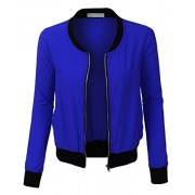 RK RUBY KARAT Womens Classic Thin Short Zip Up Bomber Jacket With Pockets - Outerwear - $41.49