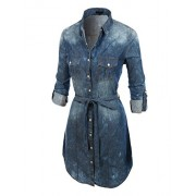 RK RUBY KARAT Womens Classic Vintage Chambray Shirt Dress With Belt - Dresses - $56.99