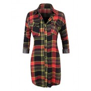 RK RUBY KARAT Womens Lightweight Long Sleeve Button Down Plaid Shirt - Shirts - $32.49