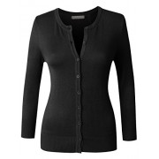 RK RUBY KARAT Womens Plus Size Clean Rib Fine Knit 3/4 Sleeve Cardigan Sweater - Shirts - $45.99