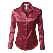 RK RUBY KARAT Womens Plus Size Long Sleeve Satin Blouse with Cuffs - Shirts - $39.49