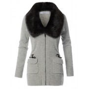 RK RUBY KARAT Womens Zip Up Knitted Sweater Cardigan Jacket With Detachable Faux Fur Trim - Outerwear - $27.99