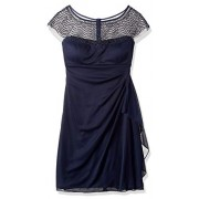 R&M Richards Women's One PCE Short Missy Beaded Yolk Cocktail Dress, - Dresses - $87.60