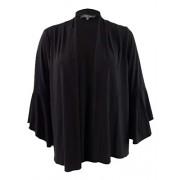 R&M Richards Women's Plus Size Bell-Sleeve Cascade Shrug (2X, Black) - Camisa - curtas - $29.99  ~ 25.76€