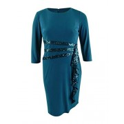 R&M Richards Women's Sequined Ruffle Sheath Dress (14, Peacock) - Vestidos - $49.99  ~ 42.94€