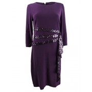 R&M Richards Women's Sequined Ruffle Sheath Dress (6, Plum) - Vestiti - $49.99  ~ 42.94€