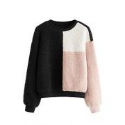 ROMWE Women's Casual Colorblock Long Sleeve Teddy Drop Shoulder Round Neck Pullover Sweatshirt - Shirts - $16.99