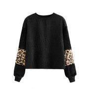 ROMWE Women's Casual Corduroy Long Sleeve Leopard Print Crewneck Casual Sweatshirt Pullover Tops - Long sleeves shirts - $16.99