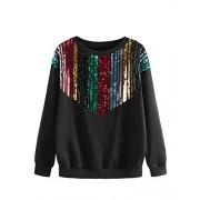 ROMWE Women's Casual Long Sleeve Colorblock Sequin Front Drop Shoulder Pullover Sweatshirt - Shirts - $19.99