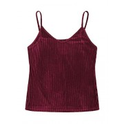 ROMWE Women's Plus Size Casual Adjustable Strappy Stretchy Basic Velvet Cami Tank Top - Shirts - $13.99