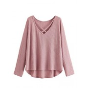 ROMWE Women's Plus Size Casual V Neck Criss Cross Long Sleeve Drop Shoulder Sweater - Long sleeves shirts - $16.99