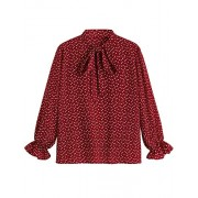 ROMWE Women's Plus Size Loose Casual Long Sleeve Bow Tie Blouse Top Shirts Burgundy 2XL - Long sleeves shirts - $18.99