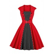 ROSE IN THE BOX Women's 50s Retro Boat Neck Polka Dots Rockabilly Cockatil Swing Dress - Dresses - $27.29
