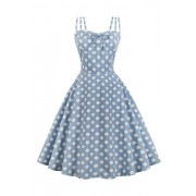 ROSE IN THE BOX Women's Spaghetti Strap Polka Dots Sexy Swing Holiday Party Dress - Dresses - $27.97