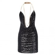 RUIYIGE Women's Sequin V-Neck Spaghetti Strap Kendall Chain Choker Cocktail Dress - Dresses - $30.99  ~ £23.55