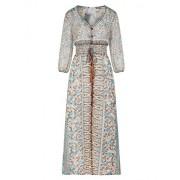 R.Vivimos Women 3/4 Sleeve Print See Through Summer Long Dresses - Dresses - $18.99
