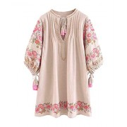 R.Vivimos Women Autumn 3/4 Sleeve Cotton Linen Floral Embroidery Casual Tunic Dresses - Dresses - $35.99