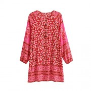 R.Vivimos Women Autumn Long Sleeve Cotton Buttons Floral Print Boho Tunic Dresses - Dresses - $25.99