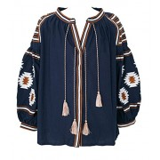 R.Vivimos Women Cotton Embroidered Long Sleeve Tops - Shirts - $29.99