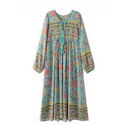 R.Vivimos Women Long Sleeve Floral Print Retro V Neck Tassel Bohemian Long Dresses - Dresses - $29.99
