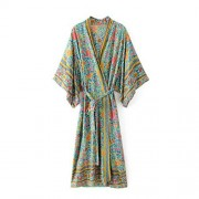 R.Vivimos Women Vintage Floral Print Beach Boho Cardigan Kimono Maxi Swimwear Cover up Dress Wrap - Dresses - $29.99