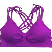 Racerback Strappy Sports Bra, One-Size, Violet - Underwear - $23.99