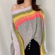 Rainbow Contrast Temperament Stripe Sweater Pullover Sweater - Shirts - $29.99